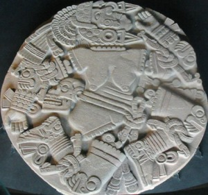 Relieve de Coyolxauhqui descuartizada, encontrado en el Templo Mayor de Tenochtitlán