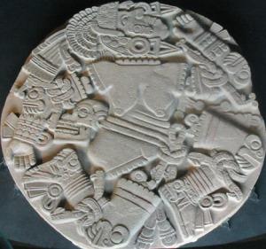 Relieve de Coyolxauhqui descuartizada, encontrado en el Templo Mayor de Tenochtitlán