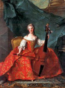 Madame Henriette tocando la viola da gamba, de Jean-Marc Nattier, 1754 (algo posterior a La Compositora).
